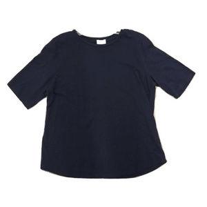 Eileen Fisher navy short sleeve shirt, Size M